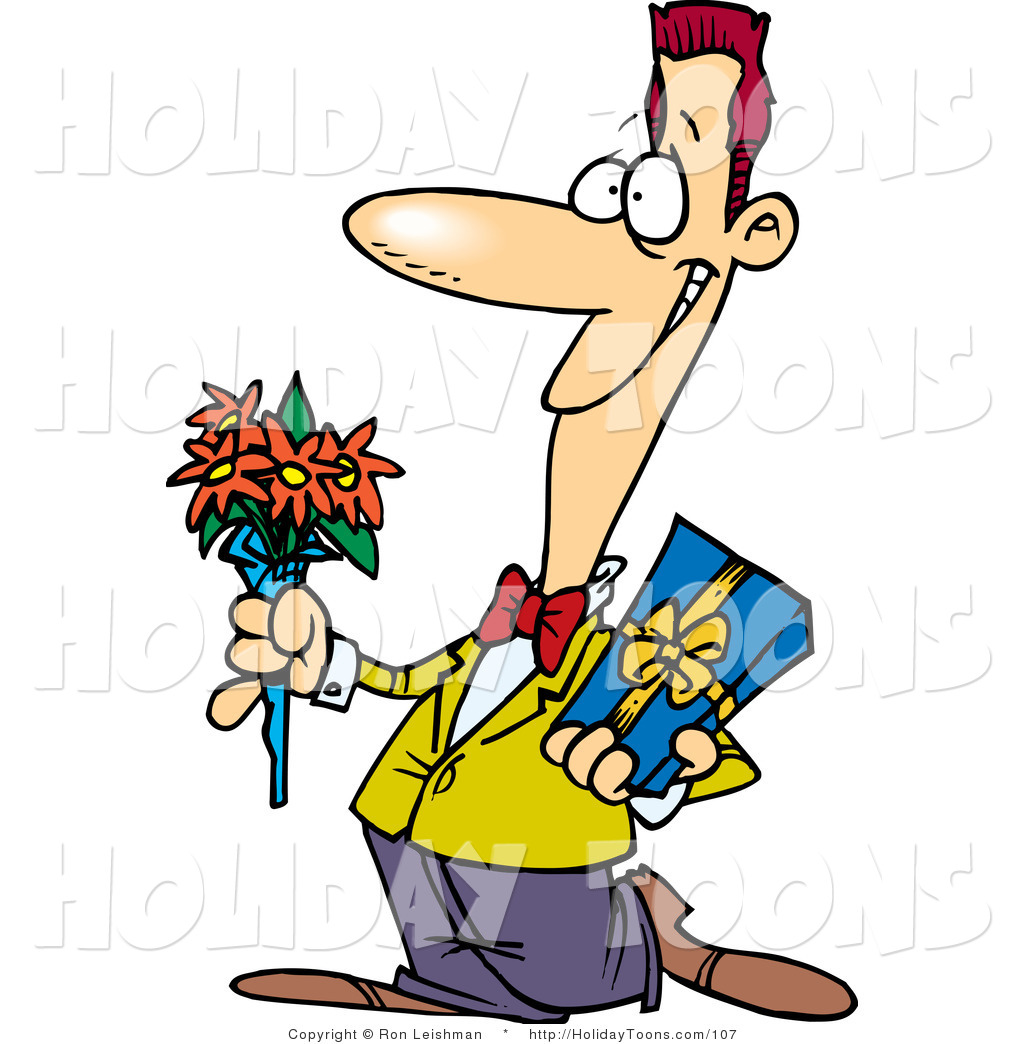 royalty-free-holiday-cartoon-of-a-cartoon-courting-man-holding-flowers-and-a-gift-for-his-date-by-ron-leishman-107