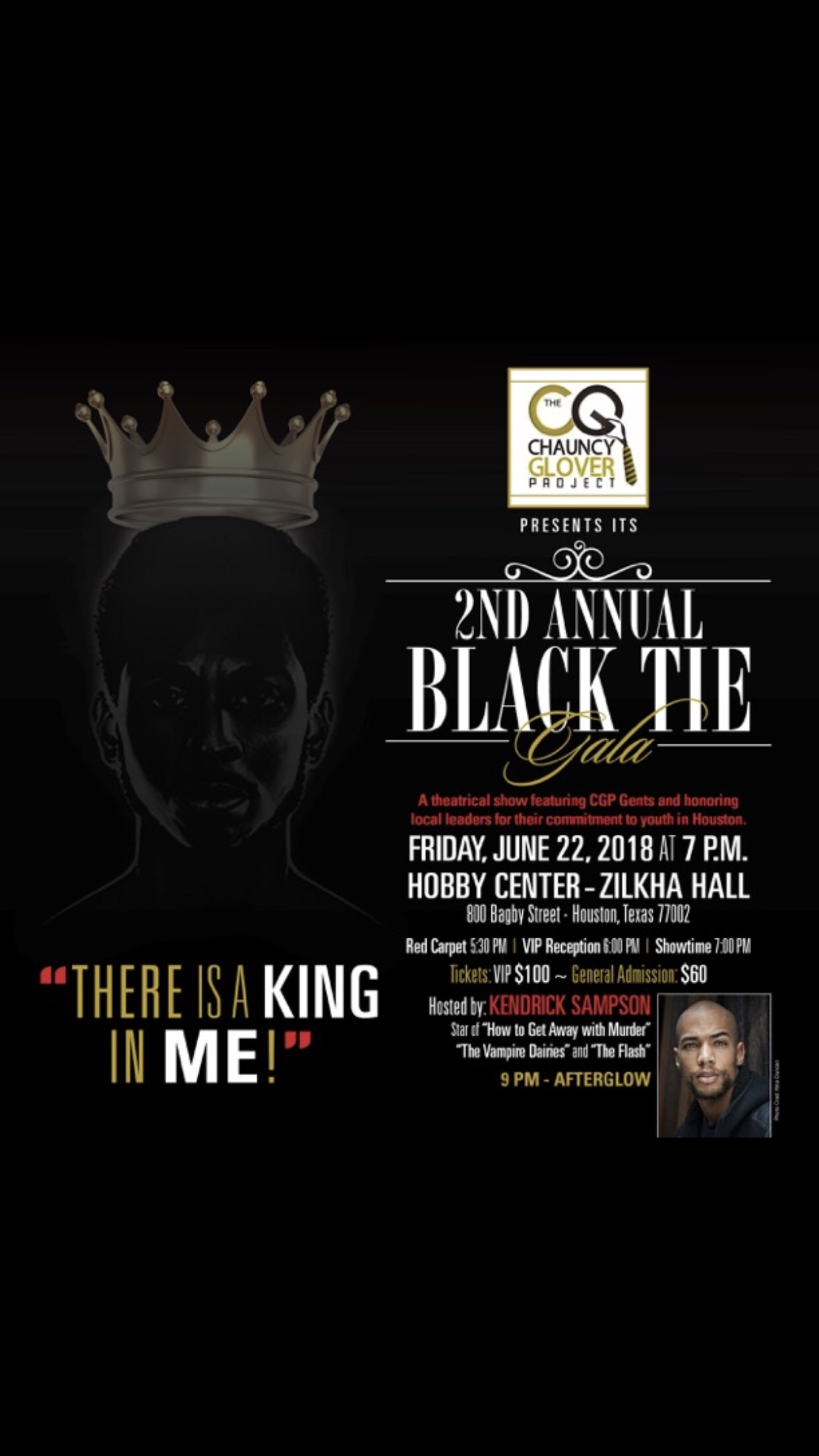 Chauncy Glover Presents 2nd Annual Chauncy Glover Project Gala at Hobby Center June 22, 2018!